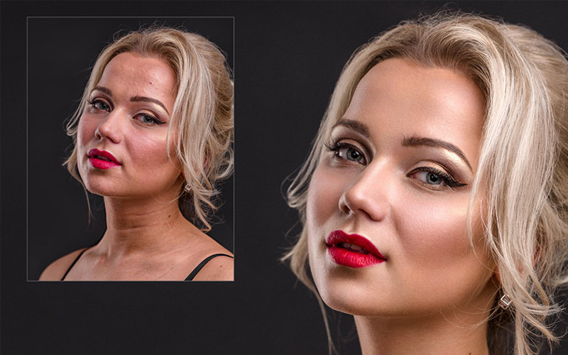 skin retouching in photoshop BEFORE & AFTER 1-2