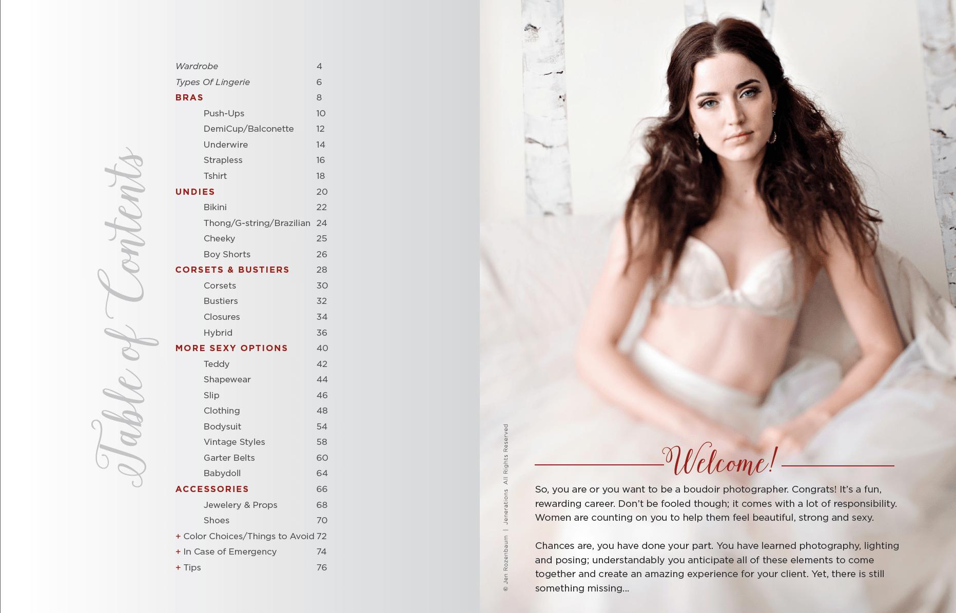 boudoir lingerie table of content