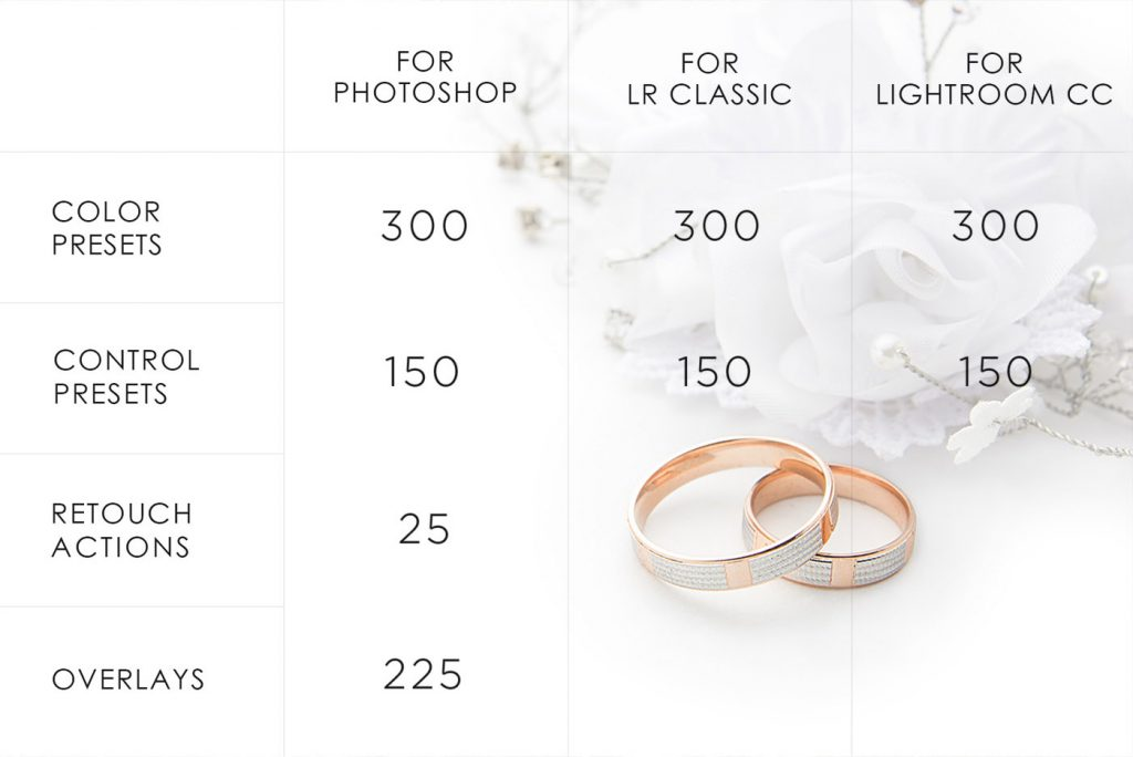 lightroom wedding presets common info table