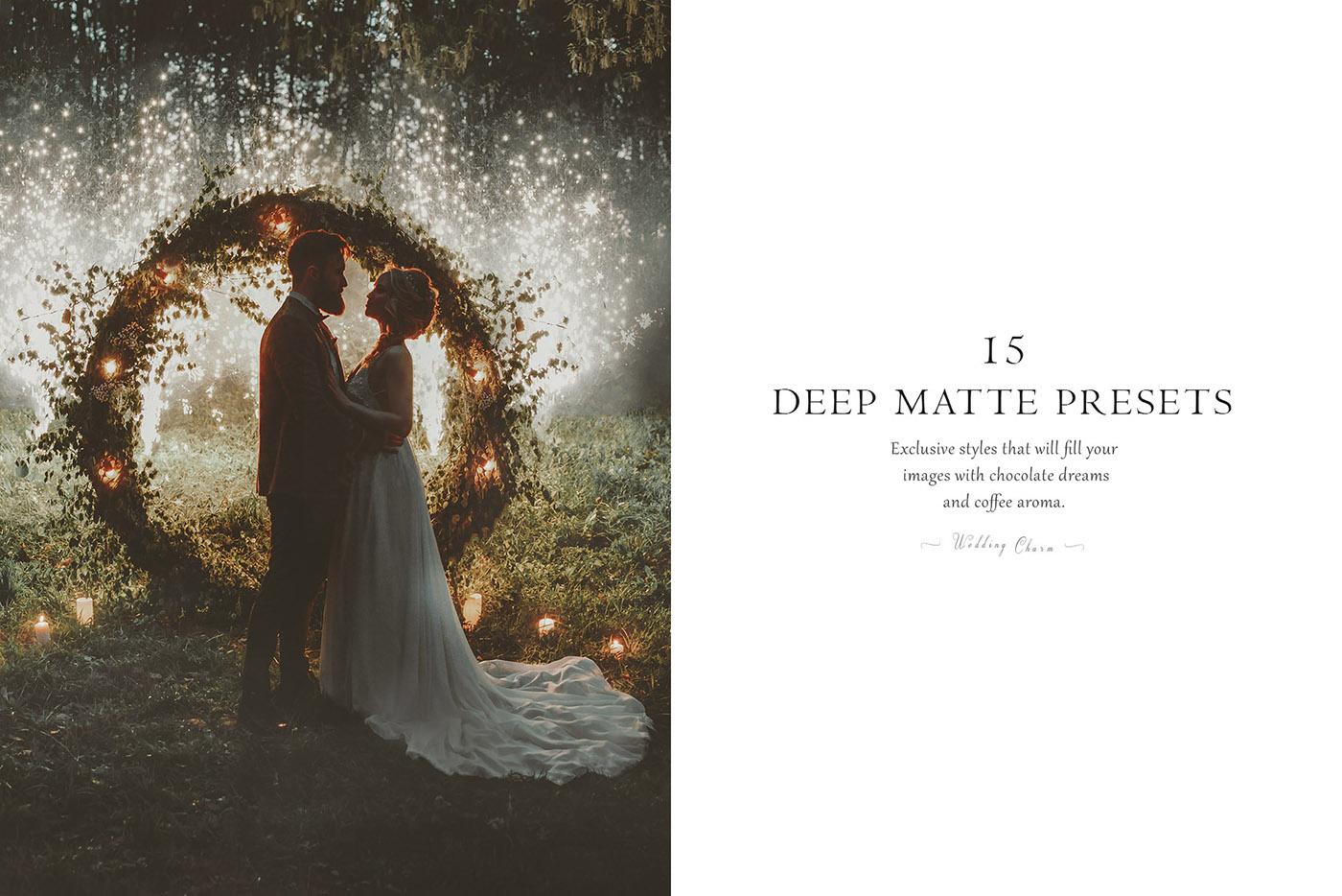 lightroom wedding presets common info tableDEEP MATTE 2