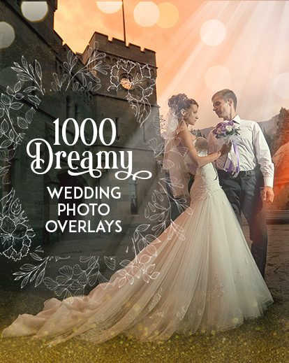 1000 Dreamy Wedding Photo Overlays Bundle